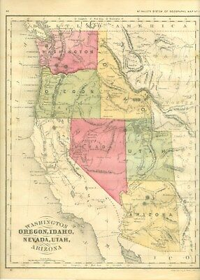 Antique  Hand Drawn &  Colored Map From Mcnally's System Of Geography 1875