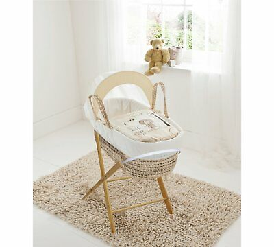 MOSES BASKET & FOLDING STAND mattress & quilt  Cream Tiny Ted Teddy in the Park