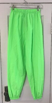 Vintage 1980s Obvious Neon Green Lightweight Pants Dance, Made In USA, Medium