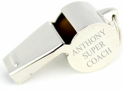 Personalised Engraved Stainless Steel Sports Whistle, Any Message, Free Delivery