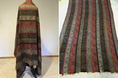 Striped Paisley Shawl/Blanket, early 1800s Tapestry on Paisley Warp, 1 twill end