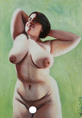 (E) oil painting NUDE ACT EROTIC GIRL _ 30x21cm_11,8x8,2in signed M.Koziol