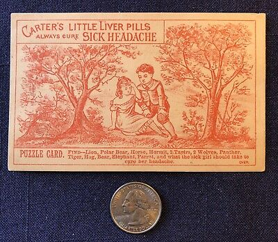 Carter's Little Liver Pills, We Mean Cured Not Merely Relieved, trade card