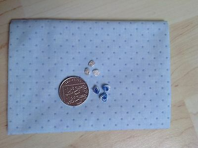 Baby Blue Mini Print Cotton Fabric + Mini Roses For Dolls House Craft Project