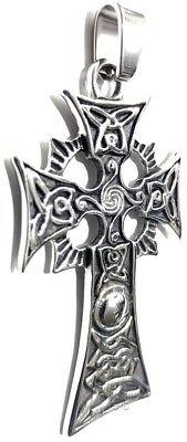 Celtic Irish Pendant Necklace Traditional Celtic Cross Knot Stainless Steel Larg