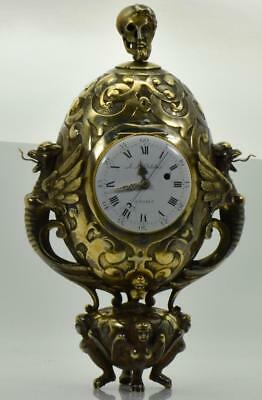 ONE OF A KIND French Gothic gild silver Memento Mori Skull&Grotesque Fusee Clock