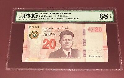 Tunisia Tunisie Central Bank 20 Dinar Pmg 68 Subrr Gem Unc Finest Known 2017
