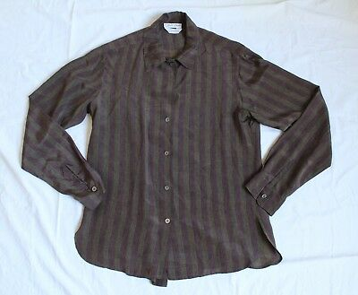 70's Vintage Calvin Klein Womens M Earth Tone Vertical Stripe Silk Shirt  Rare