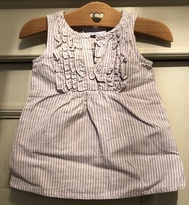 THE LITTLE WHITE COMPANY Baby Toddler Girls Pink Stripe Cotton Linen Dress 3-6m