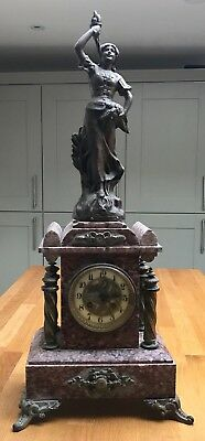 Breccia Pernice type Rouge marble clock Stamped 1855
