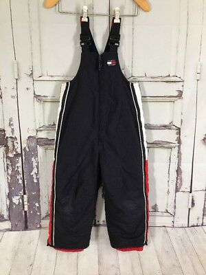 Vintage Tommy Hilfiger insulated Snow Bib  Overalls  Kids Size 4 Flag Spell Out