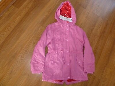 Next Girls Pink Hooded Raincoat/light weight lined jacket Age 7-8 BNWT