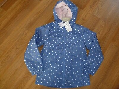 Next Girls Blue/White Spot hooded Raincoat/light weight jacket Age 7-8 BNWT