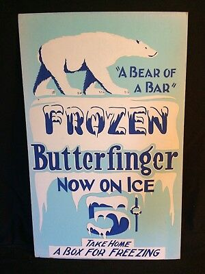 Vintage Orig. Sign Frozen Butterfinger Candy14x22 Heavy Card Stock 1930s-40s.