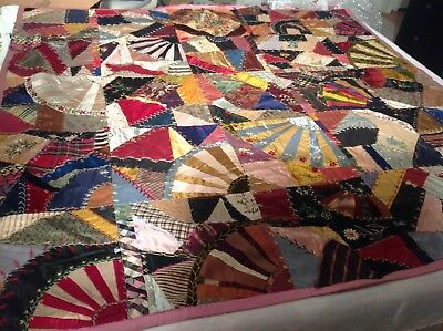 CRAZY QUILT ABSOLUTELY FABULOUS!! 20s-30s Heavy Embroidery, Silk, Velvet, PA.