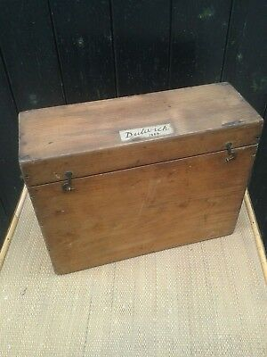 Antique Wooden Box. Vintage Wooden Pine Box For Glass Samples