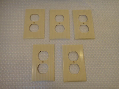 Vintage Cream Outlet Wall Plate Cover Ribbed Bakelite Lot of 5