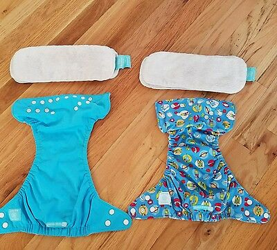 Charlie Banana One Size lot of 2 blue reusable diapers
