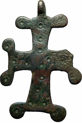 Ancient Christian Byzantine Medieval Bronze CROSS Artifact ca 1100-1200AD i66432