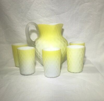 Victorian Quilted Diamond Pattern/Yellow Satin Glass Pitcher w/5 Tumblers!!