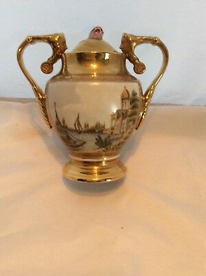 Antique French Hand Painted Lidded Figural Handled Scenic Urn