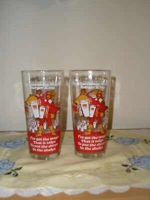 Vintage 1978 The Marvelous Magical Burger King Set of 2 Glass Tumblers