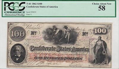 1862 $100.00 Confederate Note T-41 Pcgs Choice About New 58. 2 Cancels On Back