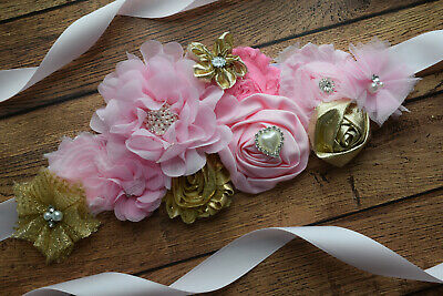 Sash Pink Gold Sash Flower Belt Maternity Sash Baby Shower Sash