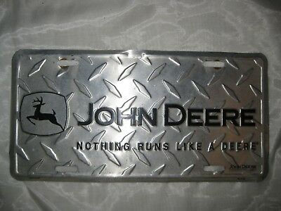 John Deere Diamond Plated License Plate, nothing runs like a deere, used