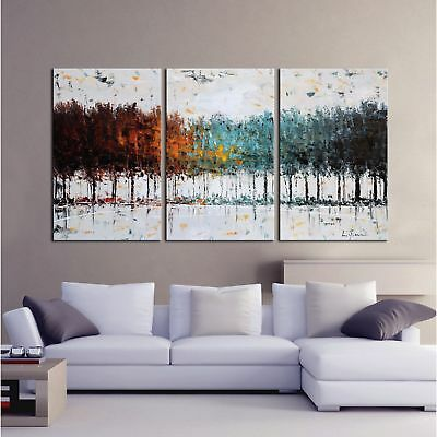 Hand Painted Canvas Wall Art Panel Gallery Wrapped Abstract Home Decor 3 Pc Set