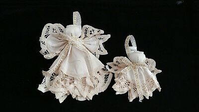 crochet lace cotton angel christmas ornaments set of 12large 6pcssmall 6pcs