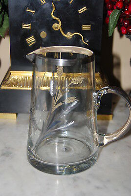 Wonderful Vintage Juice Milk Pitcher Made Of Crystal Etching & Silver Decoration