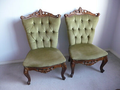 2 x Parlour or Bedroom Chairs Good Condition Velour/Velvet Olive Green 1960s
