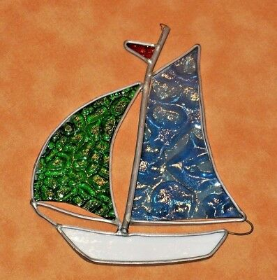 """Stained Glass SAILBOAT Suncatcher~ 6"""" Nautical Window Ornament~ Hand-Crafted Vtg"""