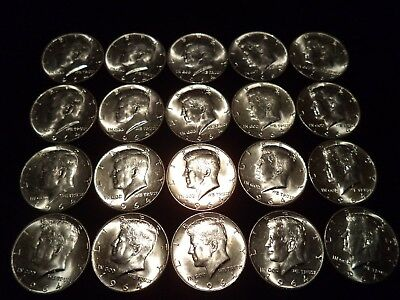 1964 Kennedy Half Dollars Lot ( Roll of 20 ) 90% Silver Coins