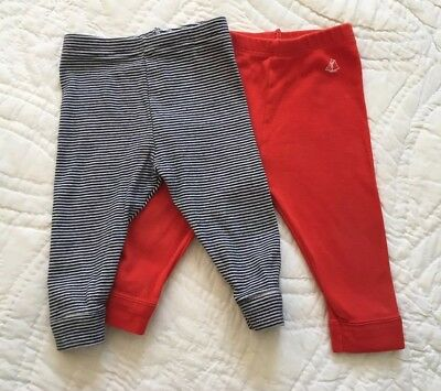 Set of Petit Bateau Baby Knit Leggings, Unisex Size 6 Months, Made in France
