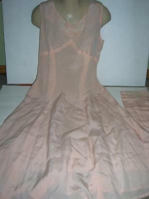 Vintage Woman's Pink Silk Evening Dress with Detachable Embroidered Sash