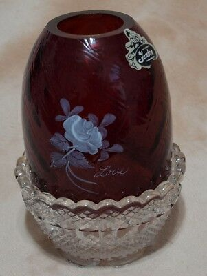 Fenton Ruby Red Handpainted Fairy Lamp Light Signed