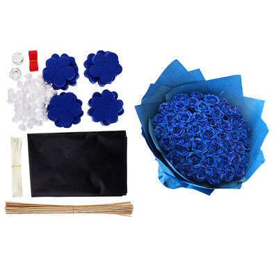 DIY Blue Flowers Non-woven Felt Applique Kit Sewing Projects for Arts Crafts