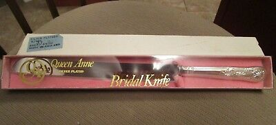 Vintage 1960's Queen Anne Silver Plated Bridal Cake Bread Knife In Box England