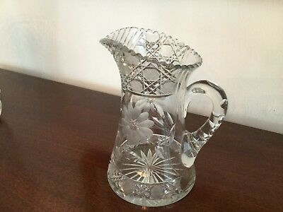 Crystal pitcher hand cut vintage East European