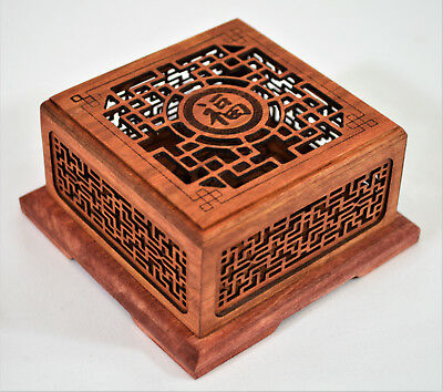Collectible Chinese Laser Carved Cherry Wood Aroma Scenter Box Asian Art Panda