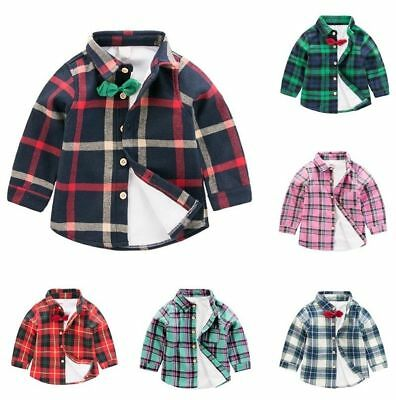 Toddler Baby Girls Boy Cotton Long Sleeve Plaid T-shirt Tops Blouse Clothes 2-7Y
