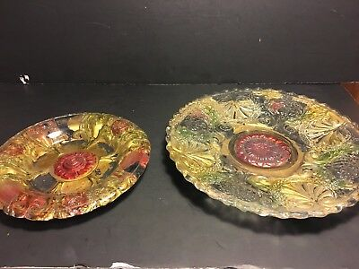 Lot of 2 Early 1900's Goofus Glass~Footed Plate+Bowl~Gold Red Flowers