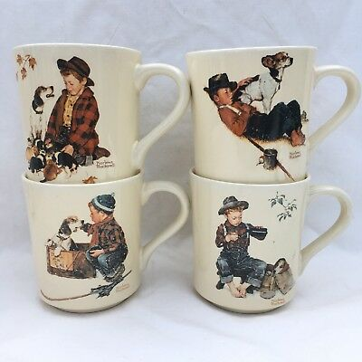 4 Norman Rockwell Mugs Cups A Boy and his Dog Four Seasons Collection Vintage
