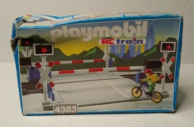 Vintage Playmobil RC Train Crossing Play Set 4383 New Sealed HTF Germany