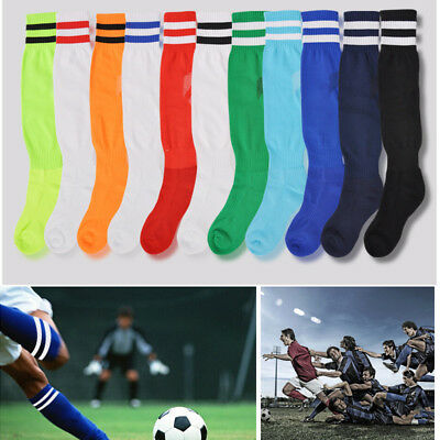 2 Stripes Thin Sport Football Soccer Socks Above Knee Plain Socks Long Stockings