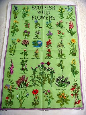 Rare Vintage Hand Embroidered Panel Tea Cloth Scottish Wild Flowers Bee Ladybird