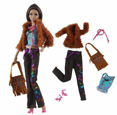 6in1 Fashion clothes/outfit Coat+vest+pants+scarf+shoes+bag For 11.5in.Doll