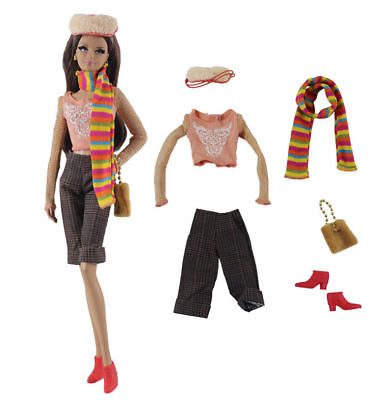 6in1 Fashion clothes/outfit Top+pants+hat+scarf+shoes+bag For 11.5in.Doll